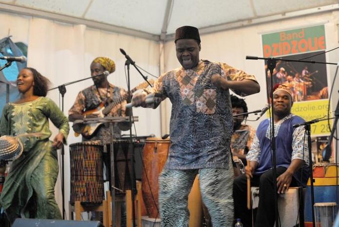 De West-Afrikaanse groep Dzidzolie verzorgde een opzwepend optreden tijdens festival Pastorale. foto Willem Mieras