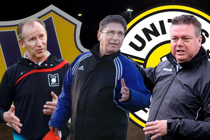 Drie trainers die de derby tussen Internos en Unitas'30 meemaakten: Ger Musters, Jack Beusenberg en Peter Sweres
