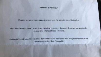 """Brandweerman krijgt briefje van buur in brievenbus: """"Gelieve niet meer in onze buurt te komen om het coronavirus niet verder te verspreiden"""""""