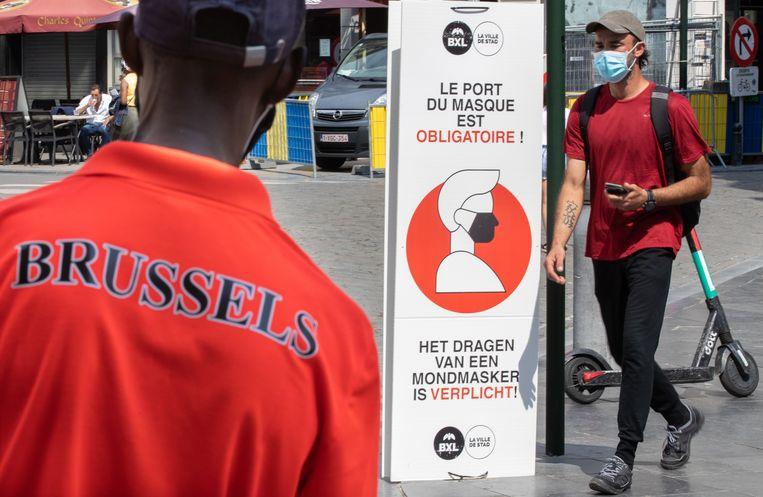 In bepaalde delen van Brussel, zoals in de voetgangerszone, was er al een mondmaskerplicht.