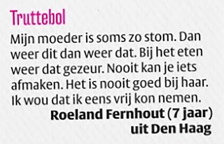 Een brief van de jonge Roeland Fernhout, acteur. Beeld vpro