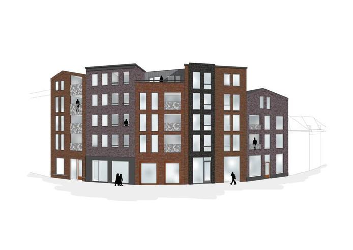 Het nieuwe aanzicht vanaf het Gasthuisplein van het appartementencomplex dat in de plaats komt van De Kroon. Illustratie MONK Architecten