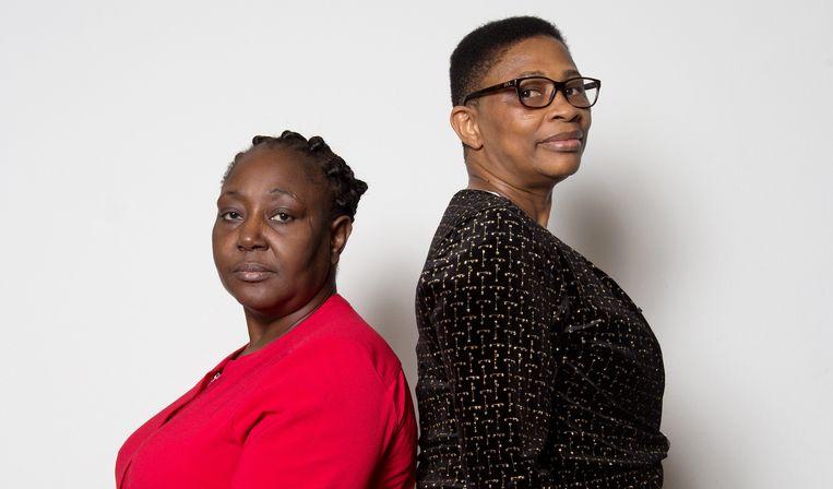 Victoria Bera (links) en Esther Kiobel  hopen bij de Nederlandse rechter gerechtigheid te vinden. Beeld Maartje Geels