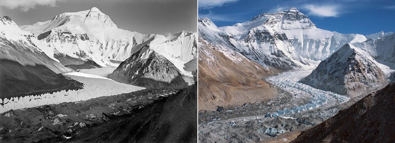 Een foto uit 1921 vergeleken met een foto van 2010, allebei van de Rongbkuk gletsjer, in Tibet.  Beeld AFP