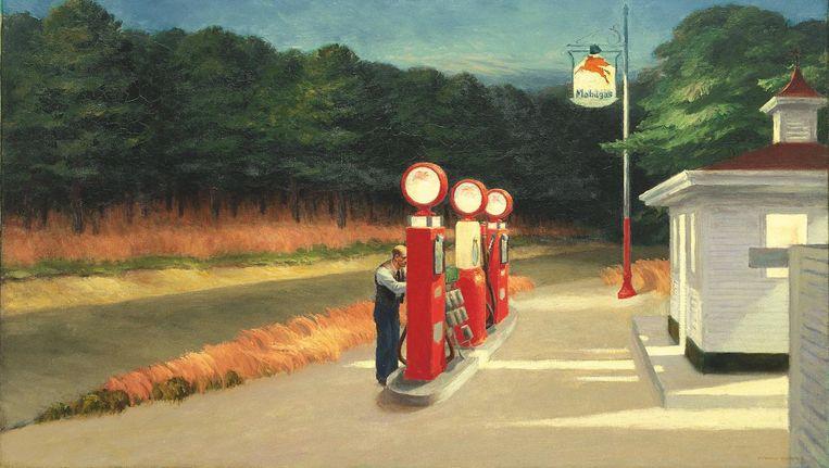 'Gas' van Edward Hopper(1940). Beeld null