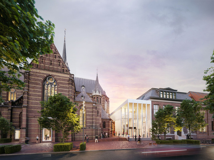 De entree van Mariënhage aan de kant van de Kanaalstraat in Eindhoven. Duidelijk zichtbaar is de 'Knoop', het lichte pand dat de vijf monumentale delen verbindt. Links is nog een van de omstreden 'erkers' te zien die in de plaats komen van de biechtstoelen in de gevel.