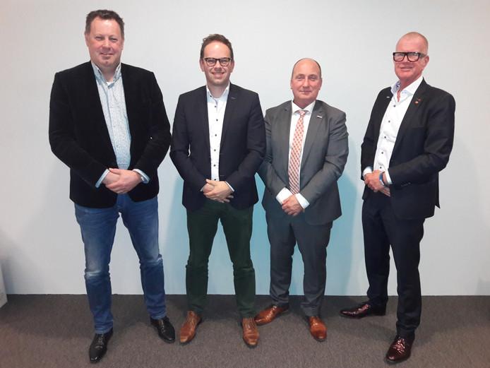 Vlnr: Louis Swinkels (CDA), Marco Stolwijk (Lijst Someren-Heide), Guido Schoolmeesters (Gemeenschapslijst) en Theo Maas (PvdA).