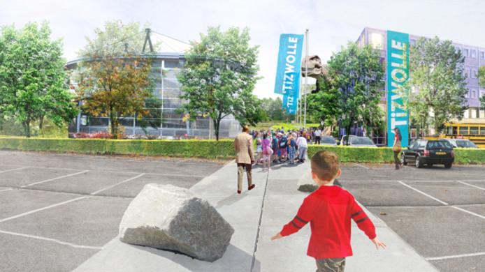 Een van de scenario's voor een toekomstig hostel op het terrein van Dinoland. Links het bestaande paviljoen, maar dan zonder de driehoekige punten eraan. Rechts een voorbeeld van een 'eenvoudig maar modern' hostel.