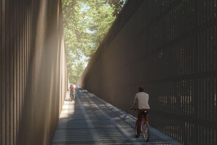 De volledige fietsbrug zal 300 meter lang zijn en over de Weg naar Zutendaal lopen.