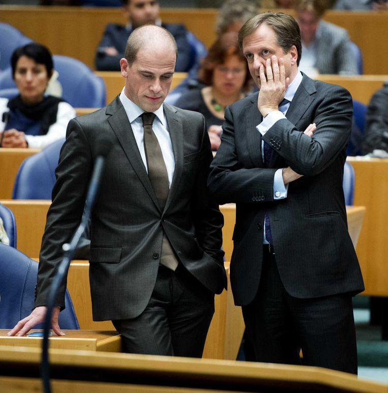PvdA-leider Samsom en D66-fractievoorzitter Pechtold in de Tweede Kamer. Beeld ANP