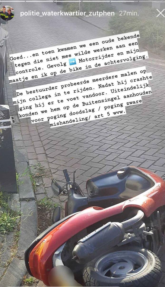Het instagrambericht van de politie.