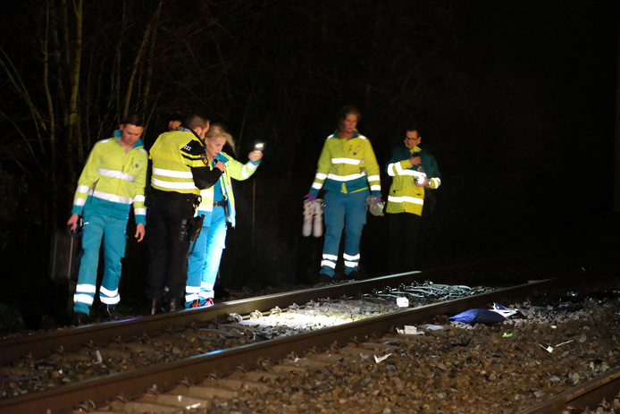 Hulpdiensten doen onderzoek naar het ongeluk.