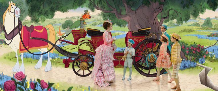 Emily Blunt als Mary Poppins, Lin-Manuel Miranda als Jack, Pixie Davies als Annabel, Nathanael Saleh als John en Joel Dawson als Georgie in Mary Poppins Returns  Beeld Disney