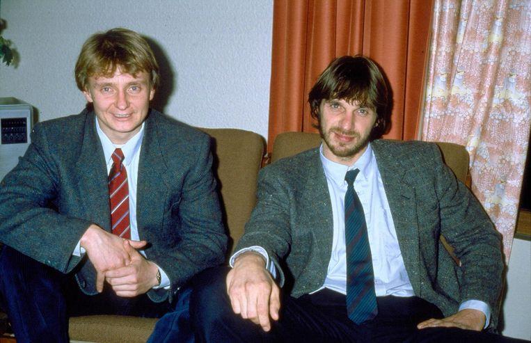 Cor van Hout en Willem Holleeder in een hotel in het Franse Beauvais. Beeld anp