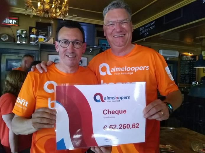Teamcaptains Gerwin Peper en Philip Dhert laten vol trots de cheque zien.
