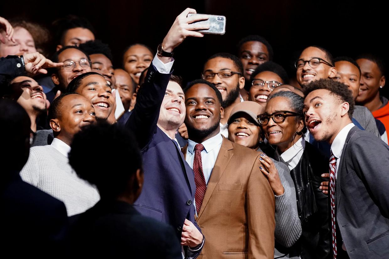 Democratische presidentskandidaat Pete Buttigieg maandag tijdens zijn bezoek aan het (zwarte) Morehouse College in Atlanta.
