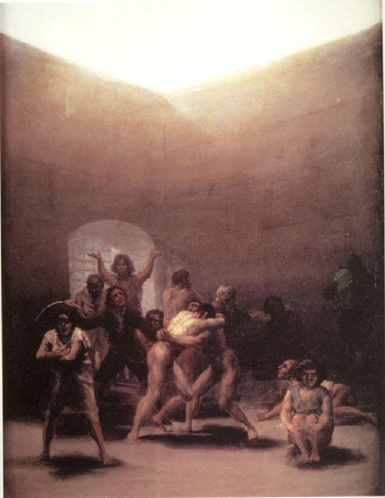 Binnenplaats met krankzinnigen Beeld Goya
