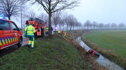 VIDEO: Brandweer redt bestuurster uit auto nadat ze in diepe gracht belandt
