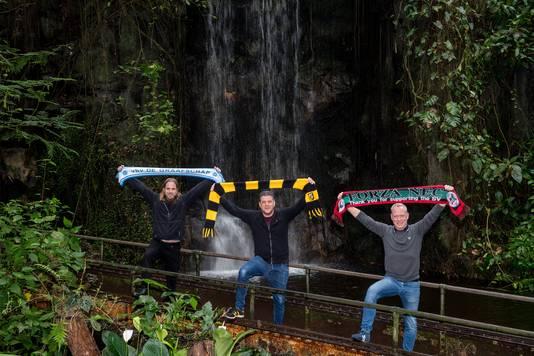 Supporters van De Graafschap (Maarten Hagelstein, links), Vitesse (Bjorn Courbois, midden) en NEC (Harold Bastiaans).