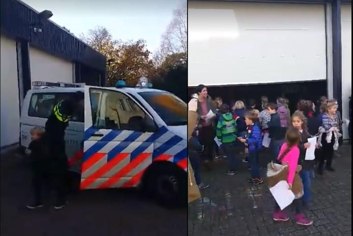 De agent opent de deur (links), waarna alle 37 kinderen weer uit de arrestantenbus kunnen.