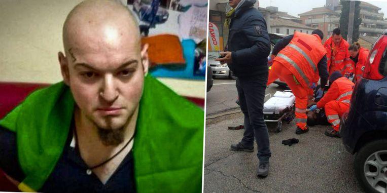 De dader van de schietpartij, een 28-jarige Italiaan. Hij had het gemunt op zwarten.