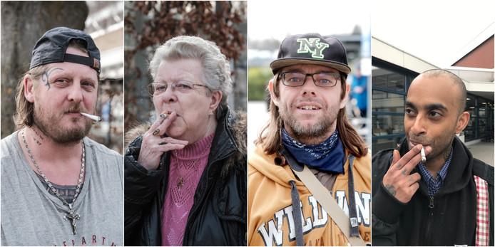De rokers HJC van Kooten, Mevrouw Seesing, Frank Beusing en Joop Neijenhuis bij de ziekenhuizen in Doetinchem en Winterswijk.
