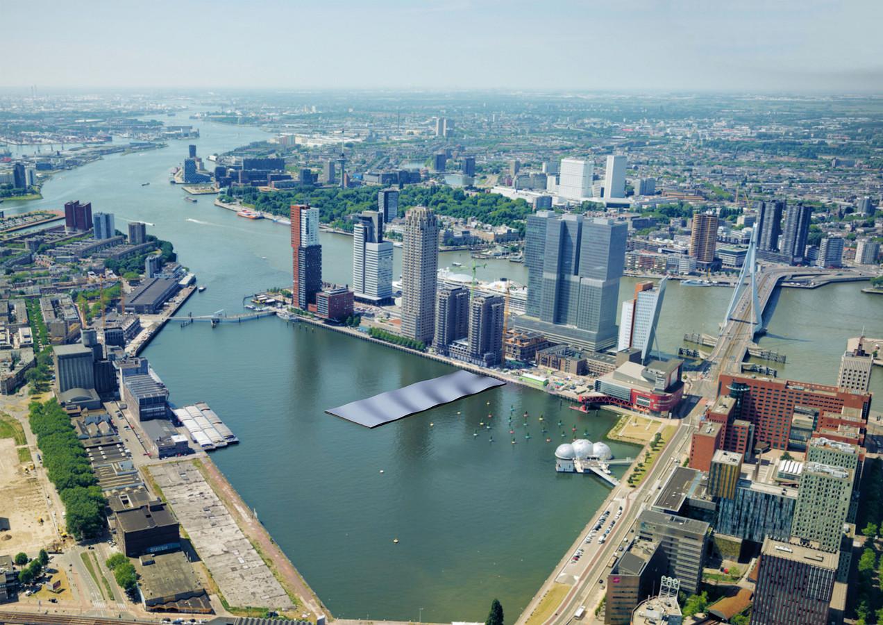 Impressie van het drijvende zonnepark, tevens kunstwerk, dat in de Rijnhaven in Rotterdam komt