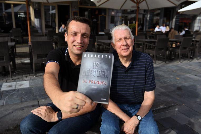 Vader en zoon Bogaerts met hun nieuwste boek '13 Geboden'.