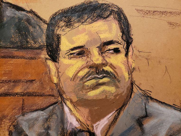 Rechtbankschets van drugskeizer Javier 'El Chapo' Guzman. De illustratie werd in juli gemaakt. Hij werd tot levenslang veroordeeld.