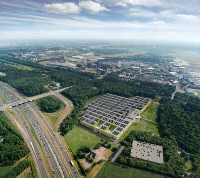 Brainport Industries Campus tussen N2/A2 en Beatrixkanaal in Eindhoven. Met op de achtergrond Eindhoven Airport.