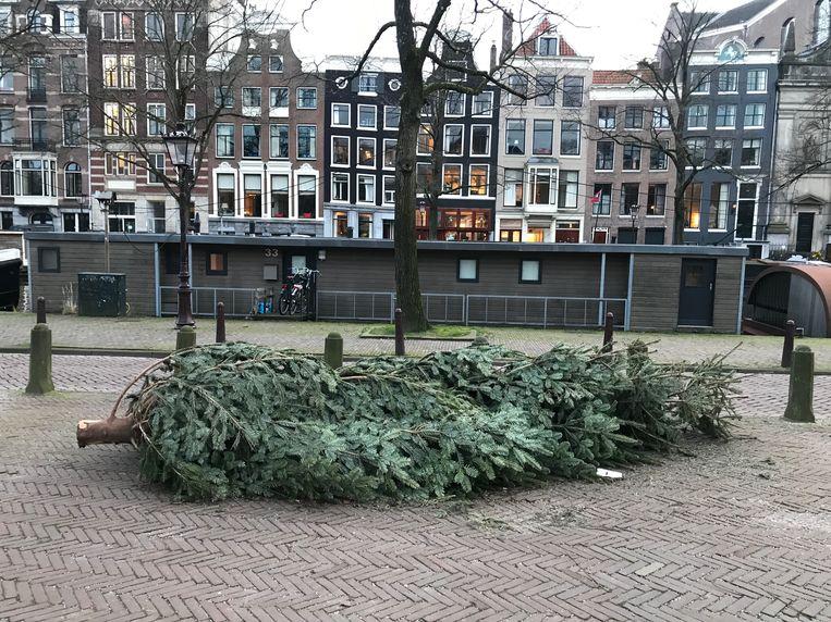 De grote kerstboom die kortgeleden nog in brasserie Nel schitterde. Beeld Jaike Reitsema
