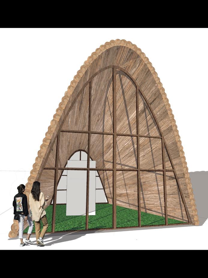 Het ontwerp van het tijdelijk paviljoen voor de Green Capital-festiviteiten  vanaf medio januari een heel jaar op het Kelfkensbos komt te staan. Het  bezoekerscentrum is een ontwerp van de architecten die ook de brug De Oversteek ontworpen hebben.