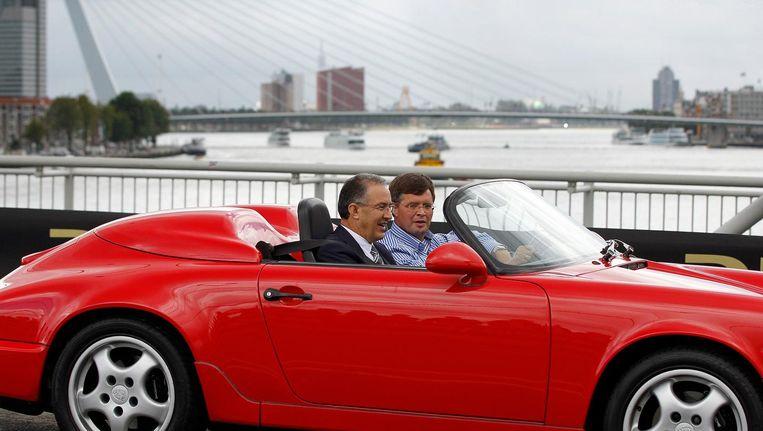 2012: Burgemeester Ahmed Aboutaleb en Jan Peter Balkenende rijden mee tijdens City Racing Rotterdam Beeld null