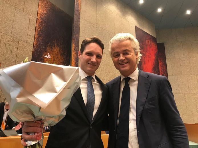 Kersvers Tweede Kamerlid Emiel van Dijk (PVV) met PVV-fractievoorzitter Geert Wilders.