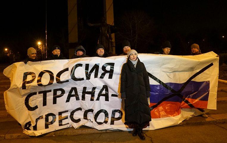 Protest in Oekraïne tegen de Russische inname van de marineschepen. Beeld AP