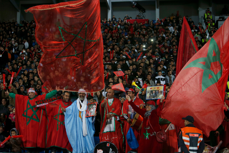 Fans van het Marokkaanse elftal.