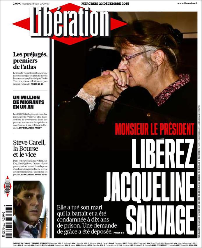 De voorpagina van de Franse krant Libération, die oproept om Jacqueline Sauvage vrij te laten.