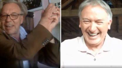 """Jarige Mulder in jolig videogesprek met Degryse: """"Ik kreeg van mijn vrouw een taart met '75' erop. Dat is toch schandalig, Marc?"""""""