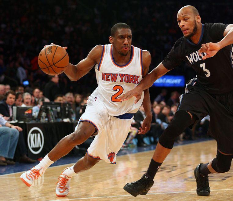 New York Knicks-speler Galloway in actie tegen de Minnesota Timberwolves. Beeld null