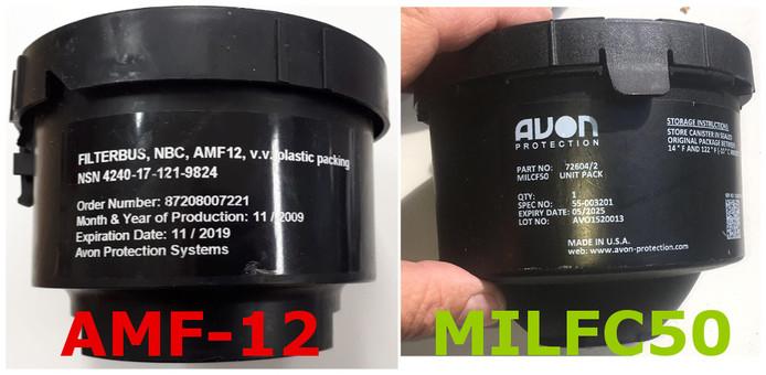 Links de foute gasmaskerfilter, rechts het alternatief zonder chroom 6.