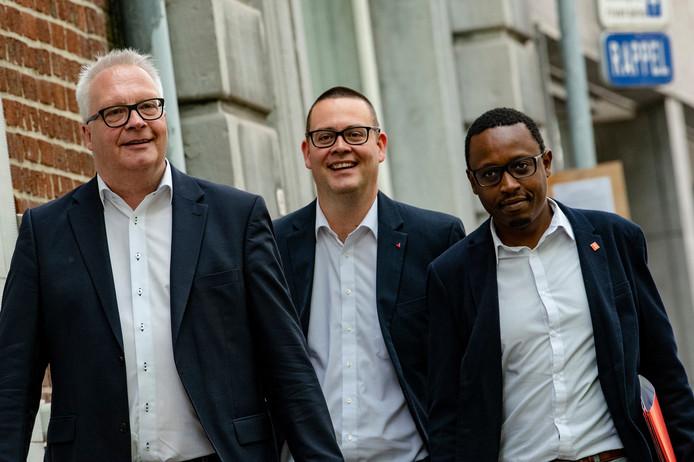 Peter Mertens (président du PTB), Raoul Hedebouw et Germain Mugemangango