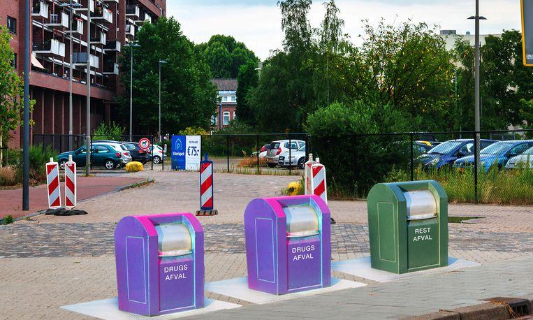 De nieuwe drugsafvalbakken in Eindhoven. Beeld