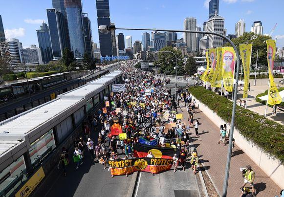 Een mars voor het klimaat in Brisbane, in Australië.