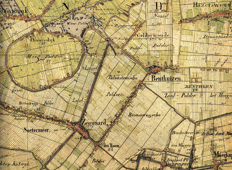 Kaart van Zoetermeer rond 1870.