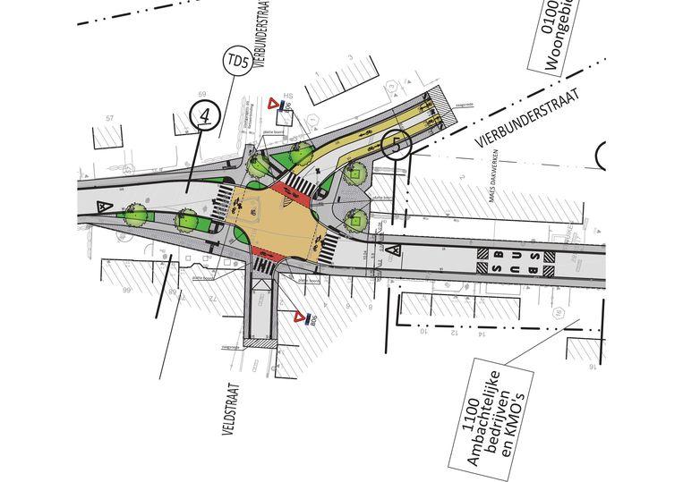 Het kruispunt van de Hoogweg met Vierbunderstraat en Veldstraat krijgt een okerkleurig plateau en veiligere inrichting.