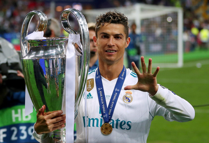 Cristiano Ronaldo na één van zijn vele Champions League-zeges bij Real Madrid.