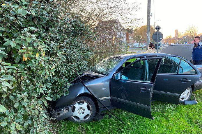 De Mercedes die richting Vijfhuizen reed belandde in een haag langs de Gentsesteenweg.