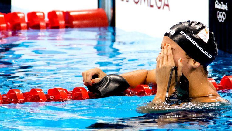 Ranomi Kromowidjojo baalt na haar teleurstellende race. Beeld anp