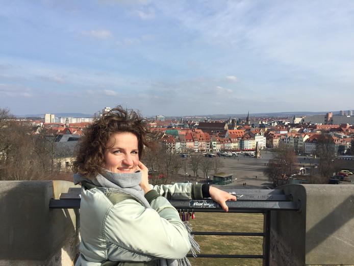 De Zwolse rolstoelbasketbalster Jitske Visser in Erfurt waar ze uitkomt voor Thuringia Bulls.