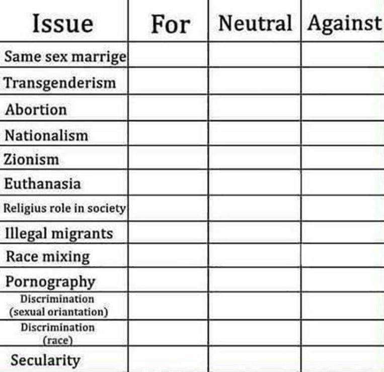 Dit formulier moet je invullen voordat je toegang krijgt tot het chatkanaal European Right, dat mede beheerd wordt door Fausto. Hiervoor moet je nog drie korte vragen: Land van afkomst, je ideologie, en een link naar de site waar je de uitnodiging voor European Right vond. Beeld .